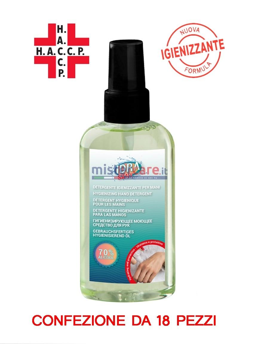 Fra-Ber Idra Sany - Detergente igienizzante per mani spray (100 ml) CONTIENE ALCOOL ALMENO 70% - Confezione da 18 pezzi