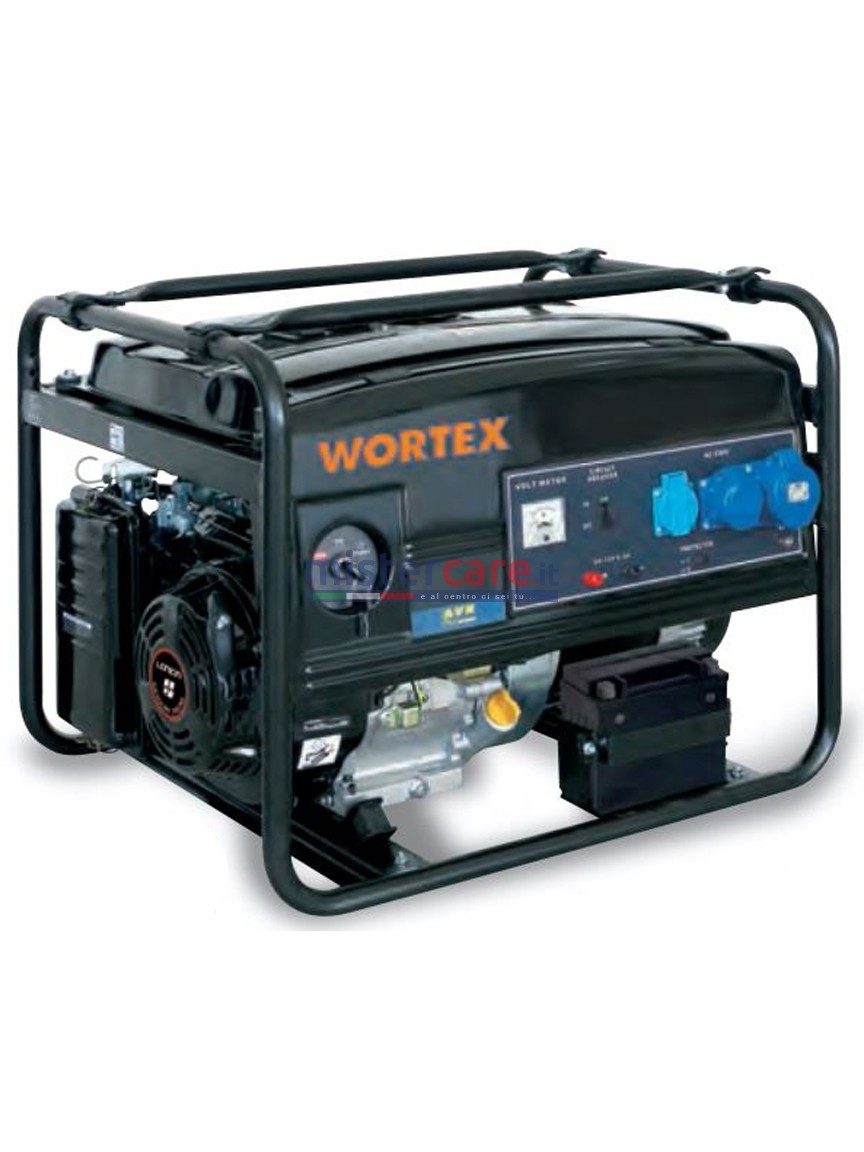 Wortex LW 6500 - Gruppo elettrogeno monofase (5,5 kW) AVR con motore a scoppio (benzina)