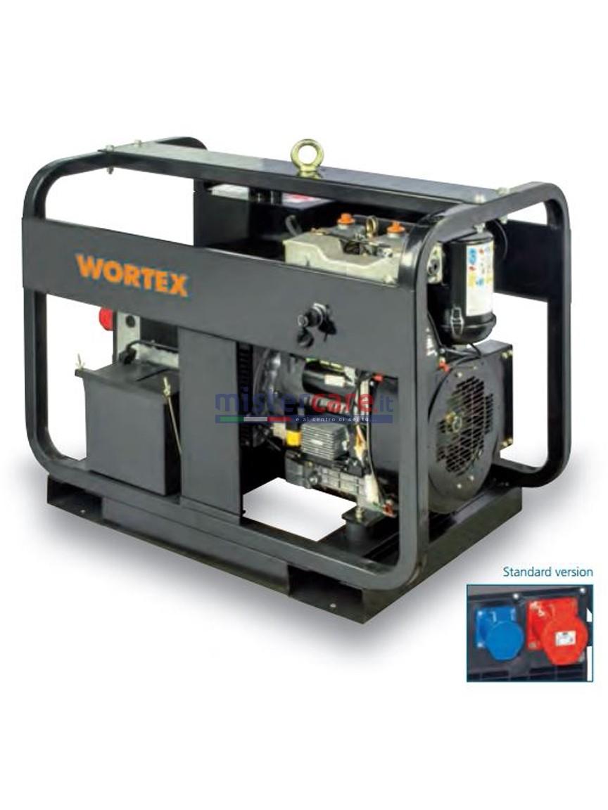Wortex HWS 12000 3E - Gruppo elettrogeno trifase/monofase (9,6 kW - 4,8 kW) AVR con motore a scoppio bicilindrico (diesel)