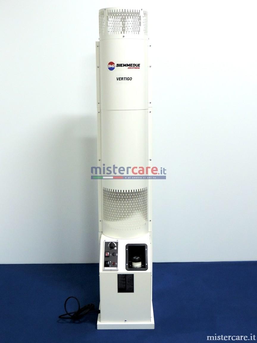Generatole d'aria calda verticale con aspirazione posta in alto e flusso uscita aria calda nella griglia inferiore