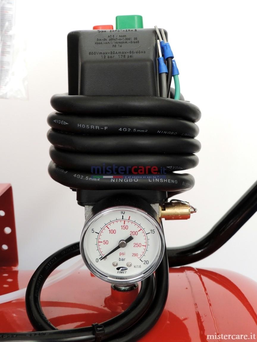 Pressostato elettromeccanico con manometro aria serbatoio
