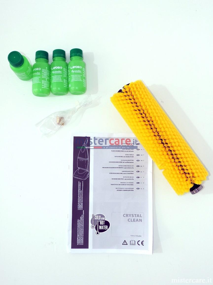 accessori in dotazione: kit 4 flaconi igienizzante profumato, spazzola morbida, libretto uso e manutenzione