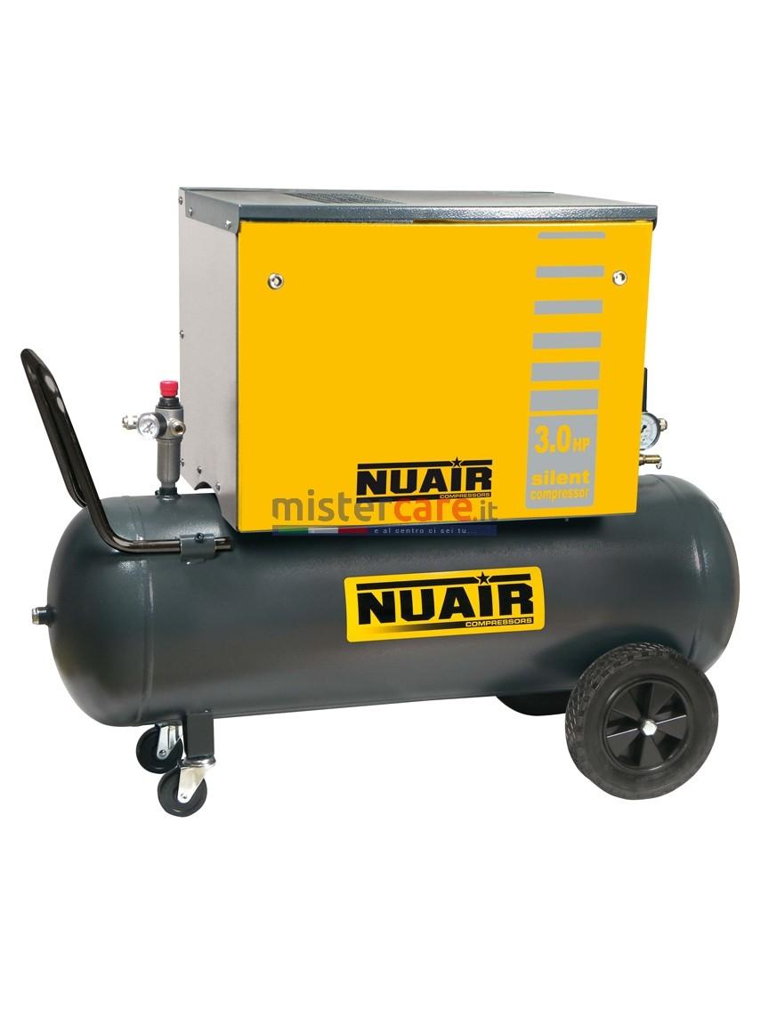 Nuair B3800 / 3M / 100C SIL - Compressore a pistoni cinghiato silenziato (390 lt/min)