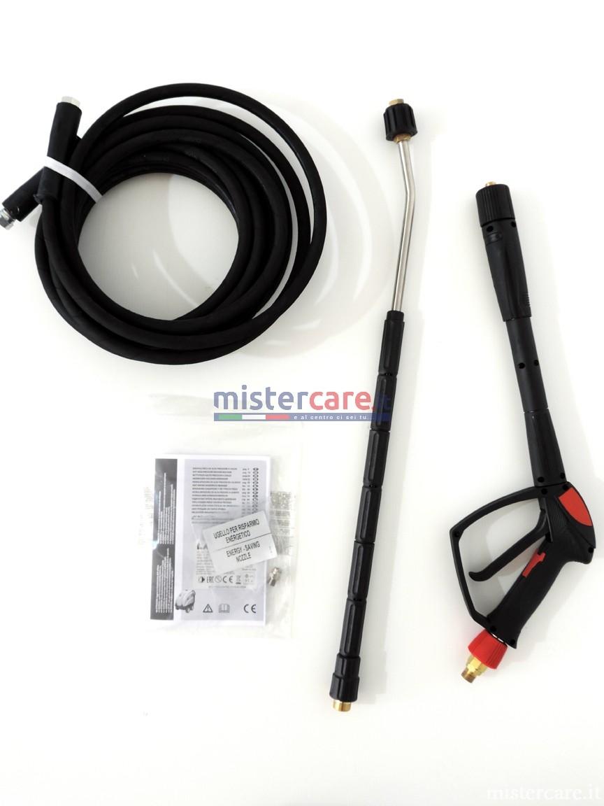 Accessori in dotazione: pistola, terminale lancia, tubo ad alta pressione 400 bar da 10 metri