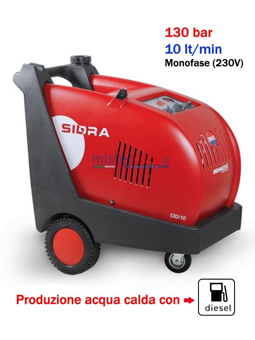 BM2 Sidra 130/10 - Idropulitrice professionale ad acqua calda (130 Bar - 10 lt/min) con bruciatore a gasolio