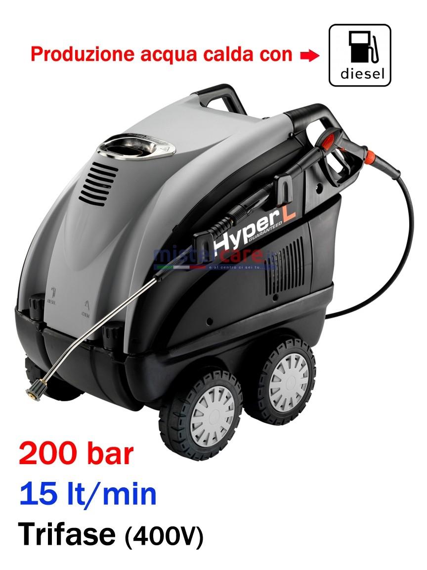 Idropulitrice professionale ad acqua calda (200 Bar - 15 lt/min) con bruciatore a gasolio