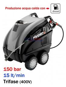 Idropulitrice professionale ad acqua calda (150 Bar - 15 lt/min) con bruciatore a gasolio