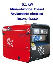 Tecnogen LD7500ESX - Gruppo elettrogeno monofase (230V) diesel (5,1 KW) insonorizzato con avviamento elettrico