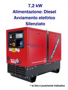 Tecnogen LD9000SS - Gruppo elettrogeno monofase (230V) diesel (7,2 KW) silenziato con avviamento elettrico