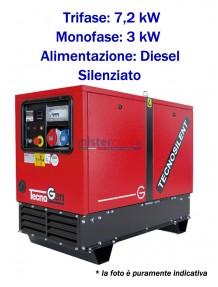 Tecnogen LD9000TSS - Gruppo elettrogeno trifase (400V) diesel (7,2 KW) silenziato con avviamento elettrico