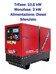 Tecnogen LD13500TSS - Gruppo elettrogeno trifase (400V) diesel (10,6 KW) silenziato con avviamento elettrico