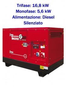 Tecnogen LD22000TSS - Gruppo elettrogeno trifase (400V) diesel (16,8 KW) silenziato con avviamento elettrico