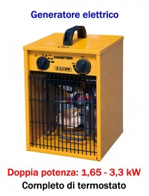 Master B 3,3 - Generatore d'aria calda elettrico monofase (1,65 - 3,3 kW)