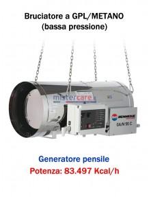 BM2 GA/N 95 C - Generatore d'aria calda (a GPL e metano) in bassa pressione a combustione diretta (pensile) - 83.497 kcal/h