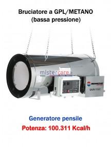 BM2 GA/N 115 C - Generatore d'aria calda (a GPL e metano) in bassa pressione a combustione diretta (pensile) - 100.729 kcal/h