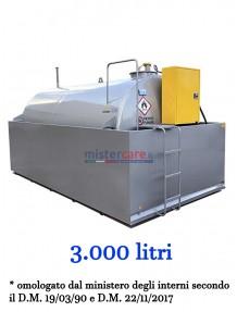 Demo Tank Fuel E55/E80 - Serbatoio per gasolio (3.000 litri) con sistema di erogazione in armadietto
