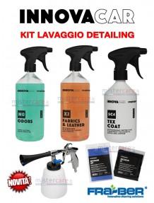 Fra-Ber - Kit prodotti INTERNI e TESSUTI auto detailing con pistola (aria compressa) pulizia interni